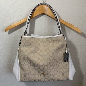Coach Tan & White Logo Leather Shoulder Bag